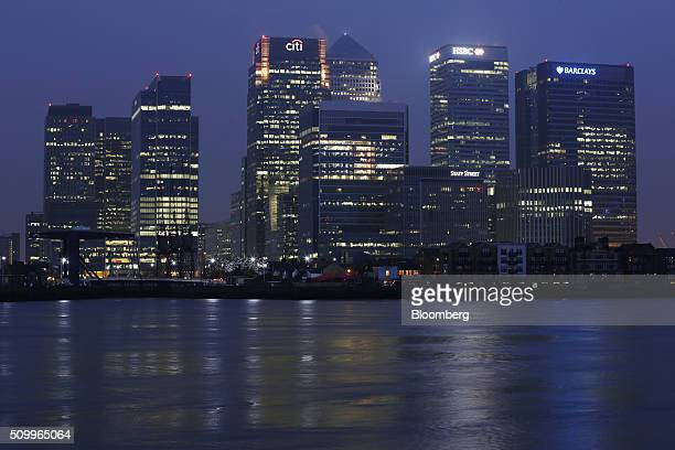 Buildings including the Citigroup Inc offices left the HSBC Holdings Plc headquarters center and the Barclays Plc headquarters right stand in the...