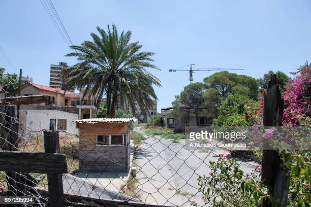 Buildings inside the 'Forbidden Zone' of Varosha districton July 06, 2010 in Famagusta, Cyprus. Abandoned and decaying Buildings of the empty city of...