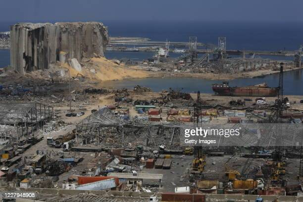 Buildings lie in ruins at the city's port, destroyed in Tuesdays explosion, on August 7, 2020 in Beirut, Lebanon. By Friday, the official death toll...