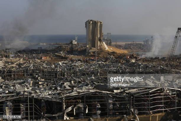 Buildings lie ruined near the city's port, devastated by an explosion a day earlier, on August 5, 2020 in Beirut, Lebanon. As of Wednesday morning,...