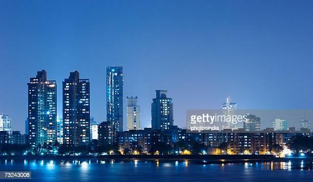 Buildings lit up at dusk, Mumbai, Maharashtra, India
