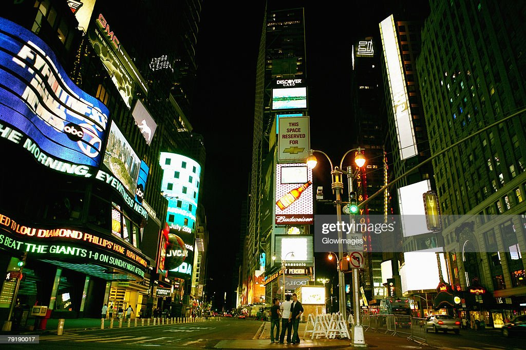 Buildings lit up at night in a city, Times Square, Manhattan, New York City, New York State, USA : Stock Photo
