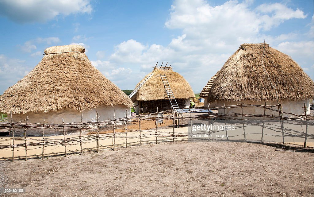Buildings of replica Neolithic huts at the Stonehenge site