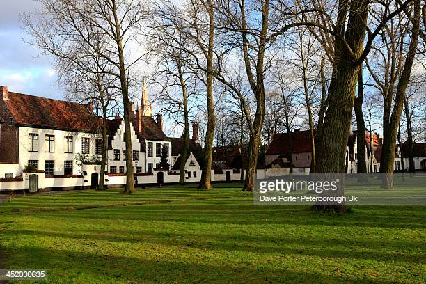 buildings of the beguinage convent, bruges - convent stock photos and pictures