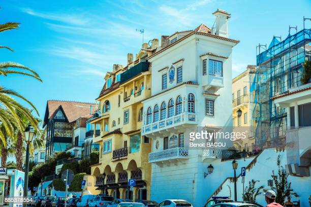 buildings of the city of cascais, lisbon area, portugal - cascais stock photos and pictures