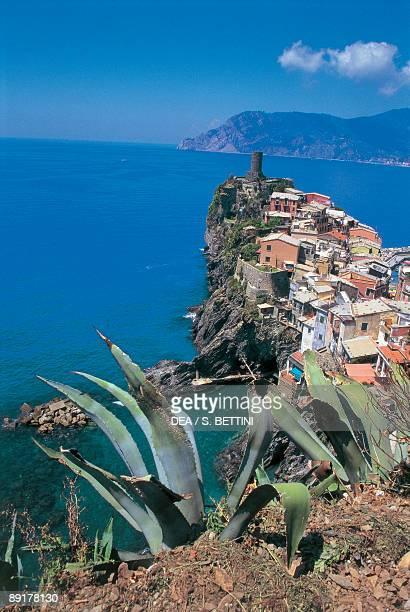 Buildings on a cliff Cinque Terre Vernazza Liguria Italy