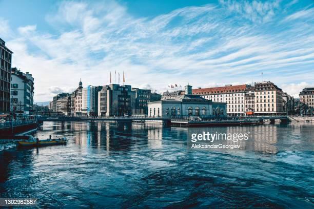 buildings on rhône rive quay in geneva, switzerland - geneva switzerland stock pictures, royalty-free photos & images