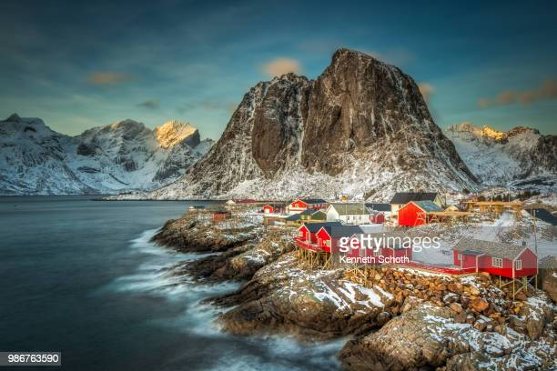 Buildings on stilts by the sea in Lofoten, Norway.