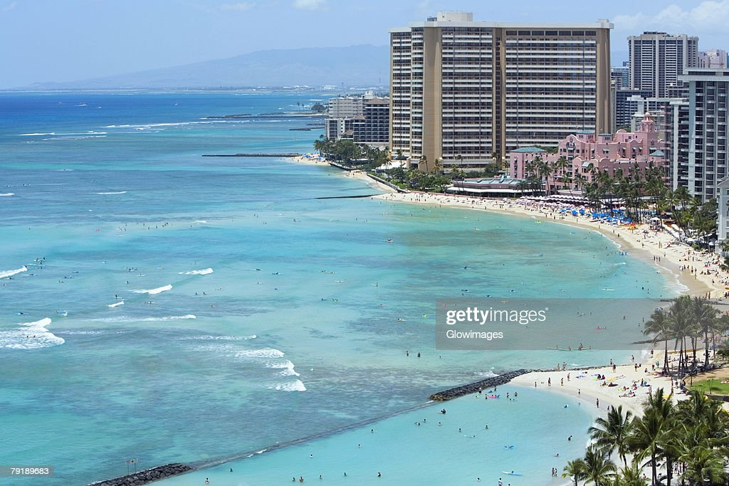 Buildings on the beach, Waikiki Beach, Honolulu, Oahu, Hawaii Islands, USA : Foto de stock