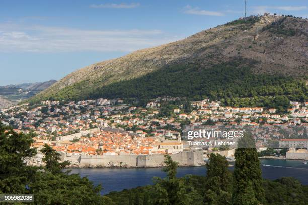 Buildings on the hillside and Mount Srd in Dubrovnik, Croatia, viewed from the lush Lokrum Island on a sunny day.
