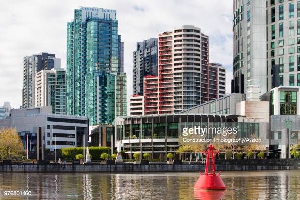 Buildings on the side of the Yarra River in Melbourne city centre, Australia.