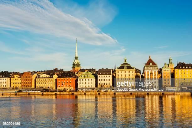 Buildings over harbor in Stockholm cityscape, Stockholm, Sweden