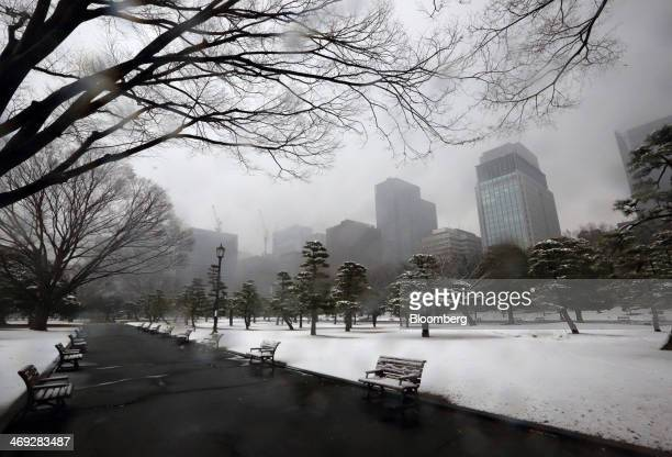 Buildings stand behind a park as snow falls in Tokyo Japan on Friday Feb 14 2014 Snowfall in Tokyo disrupted train and plane services for the second...