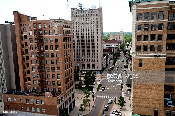 Buildings stand in downtown Youngstown Ohio US on Friday June 8 2012 Hydraulic fracturing or fracking is bringing new development to cities in the...