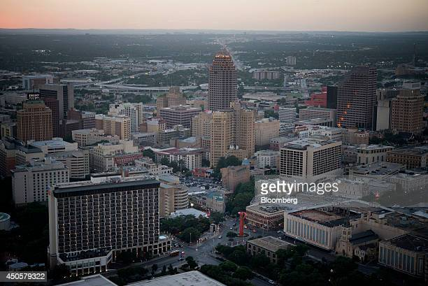 Buildings stand in the skyline of downtown San Antonio Texas US on Thursday June 5 2014 Localities in Texas home to seven of the nation's 15...