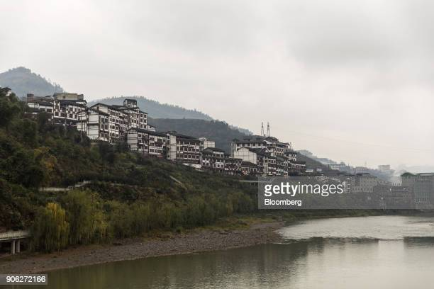 Buildings stand in the town of Maotai home of baijiumaker Kweichow Moutai Co in Renhuai Guizhou province China on Thursday Dec 14 2017 Moutai...
