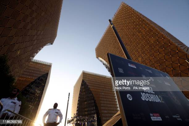 Buildings tower over the ring ahead of the public workout at the Public Investment Fund office complex in Riyadh