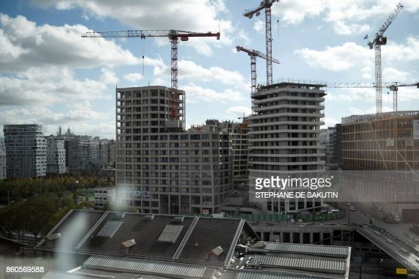 Buildings under construction are seen from a window of the new Paris Judicial Police headquarters in the Batignolles neighbourhood Porte de Clichy in...