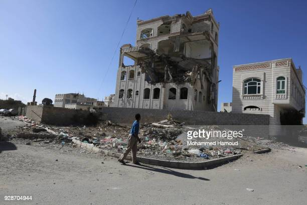 Buildings within an civilian residential area are destroyed after airstrikes by the Saudiled Coalition on March 7 2018 in Sana'a Yemen
