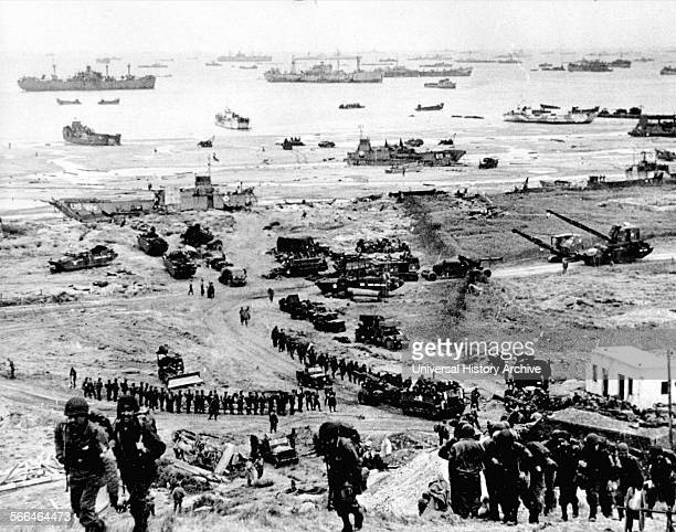 Buildup of Allied forces landing at Omaha Beach Normandy France during the World War two DDay landings 1944