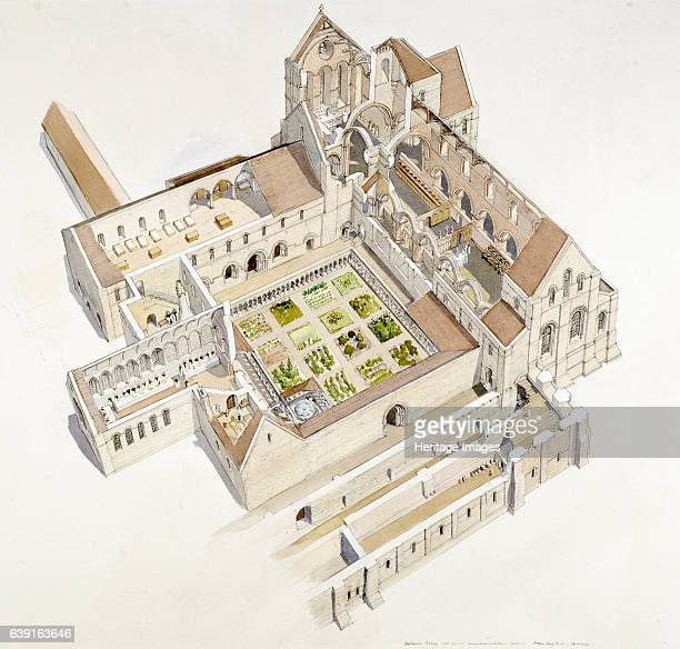 Buildwas Abbey 12th century Aerial view cutaway reconstruction drawing of the abbey in the 12th century Located along the banks of the River Severn...