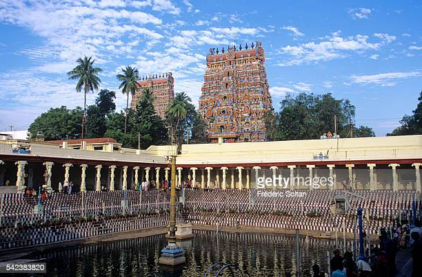Built around the 17th century AD the temple is dedicated to Lord Shiva and Goddess Parvati View of Potramarai Kulam the Pond with the Golden Lily