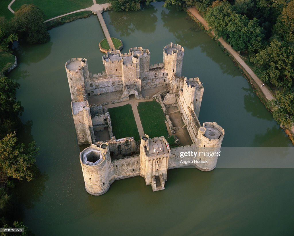 Aerial View of Bodiam Castle, Sussex : News Photo