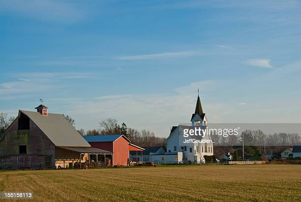 Historic Fir Conway Lutheran Church and Old Red Barn