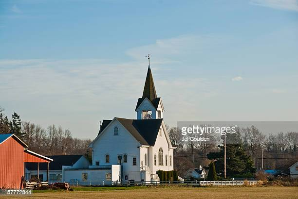 Historic White Church and Red Barn