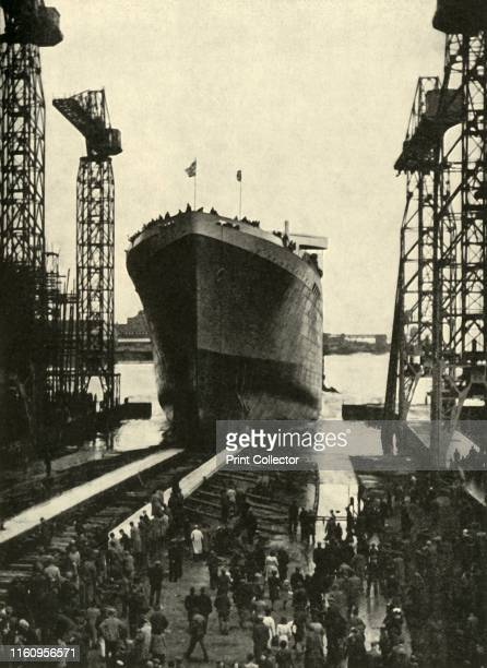 Built in a Belfast Shipyard The launching of the Edinburgh Castle a fine ship built recently for the South African run and launched by Princess...