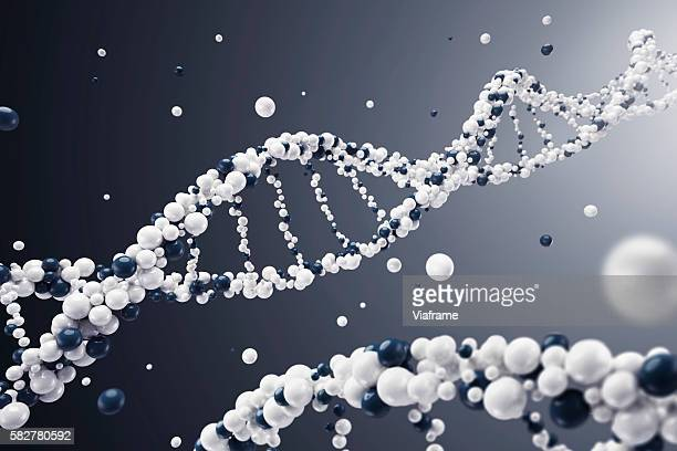 DNA built of spheres with dark background