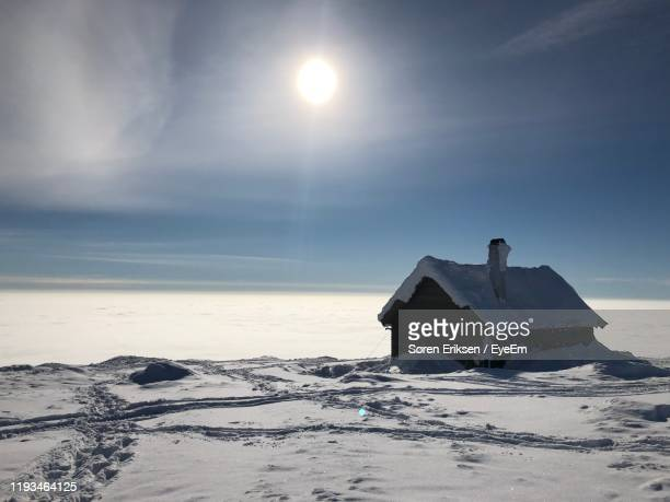 built structure by sea against sky during winter - eriksen stock pictures, royalty-free photos & images