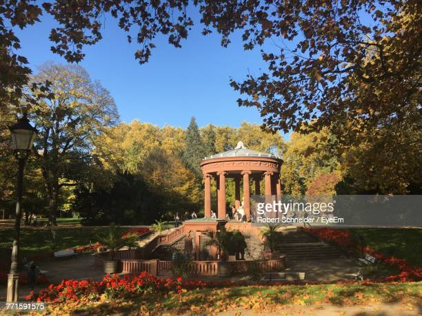 built structure by trees against sky - bad homburg stock pictures, royalty-free photos & images