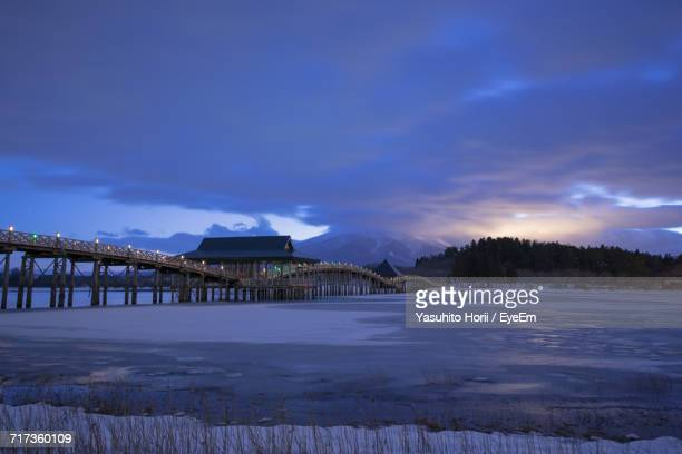 built structure in winter at night - aomori prefecture stock pictures, royalty-free photos & images