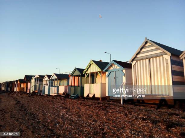 built structure on beach against clear sky - southend on sea stock pictures, royalty-free photos & images