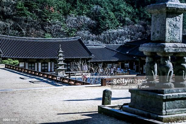 built structures at buddhist temple against trees - jeonju stock photos and pictures