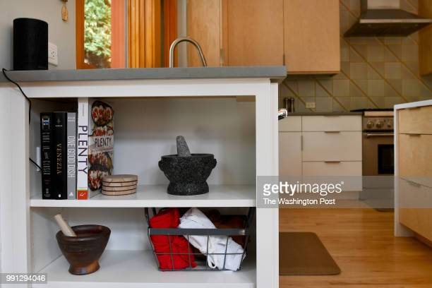 A builtin bookcase is one feature in the kitchen addition at the Gillenwater home May 06 2018 in Kensington MD