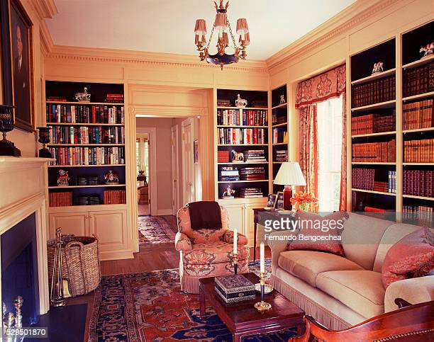Built-in Bookcases in Library with Fireplace