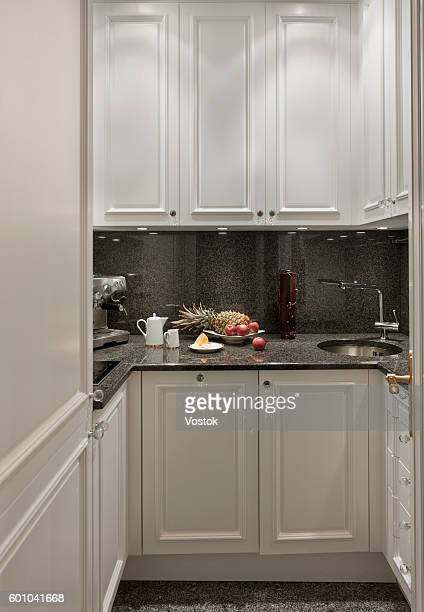 built-in kitchen - small apartment stock pictures, royalty-free photos & images