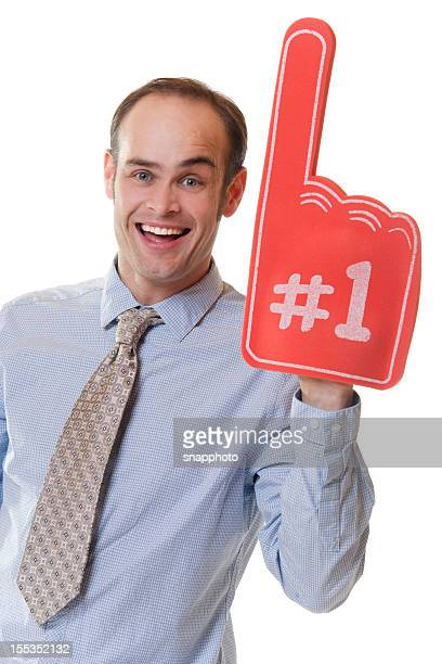buisness man with red foam finger - foam finger stock photos and pictures