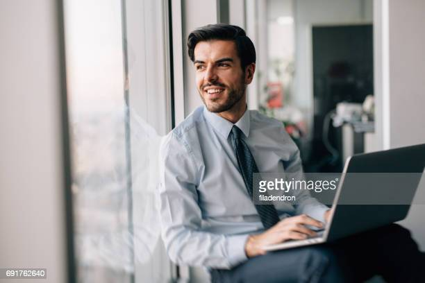 Buisnessman Using Laptop