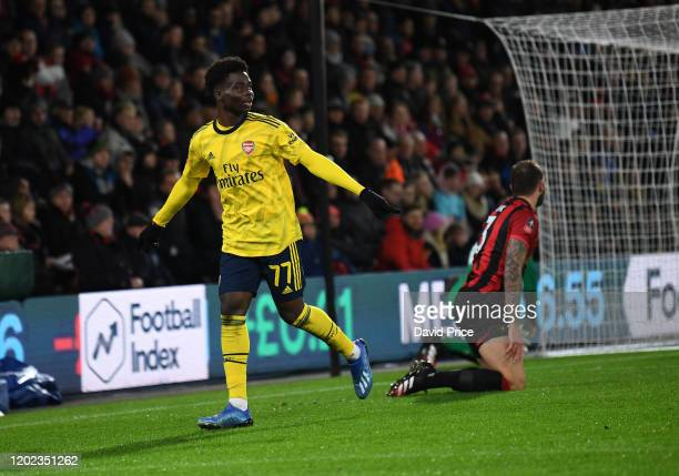 Bukayo Saka celebrates scoring a goal for Arsenal during the FA Cup Fourth Round match between AFC Bournemouth and Arsenal at Vitality Stadium on...