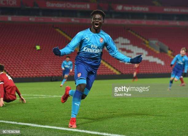Bukayo Saka celebrates scoring Arsenal's 2nd goal during the FA Youth Cup 4th Round match between Liverpool and Arsenal at Anfield on January 20 2018...