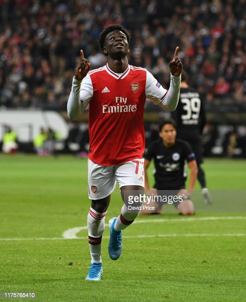 Bukayo Saka celebrates scoring Arsenal's 2nd goal during the UEFA Europa League group F match between Eintracht Frankfurt and Arsenal FC at on...