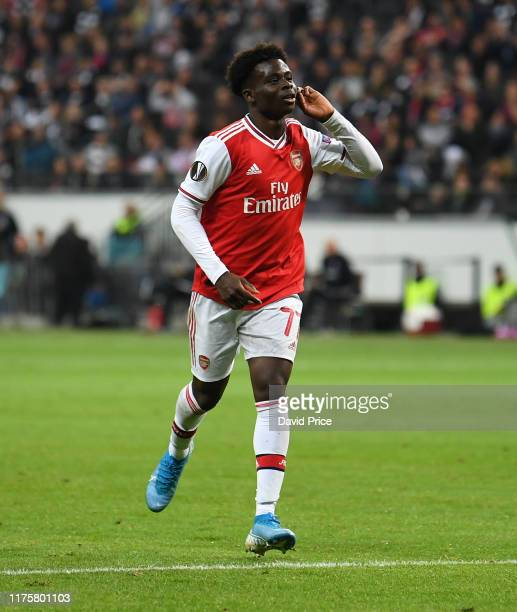 Bukayo Saka celebrates scoring Arsenal's 2nd goal during the UEFA Europa League group F match between Eintracht Frankfurt and Arsenal FC at...