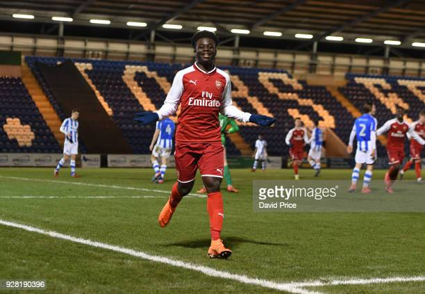 Bukayo Saka celebrates scoring Arsenal's 3rd goal during the FA Youth Cup match between Colchester United and Arsenal at Weston Homes Community...