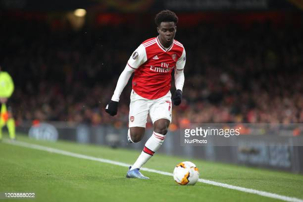 Bukayo Saka controls the ball during the 2019/20 UEFA Europa League 1/32 playoff finale game between Arsenal FC and Olympiakos FC at Emirates...