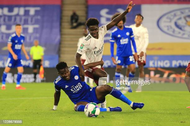 Bukayo Saka of Arsenal and Daniel Amartey of Leicester City during the Carabao Cup match between Leicester City and Arsenal at the King Power Stadium...