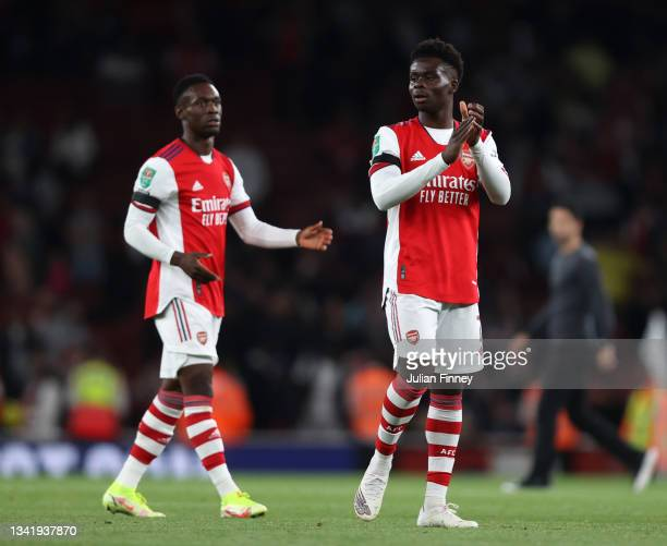 Bukayo Saka of Arsenal applauds fans after his teams victory in the Carabao Cup Third Round match between Arsenal and AFC Wimbledon at Emirates...