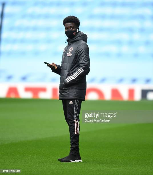 Bukayo Saka of Arsenal before the Premier League match between Manchester City and Arsenal at Etihad Stadium on October 17 2020 in Manchester England...